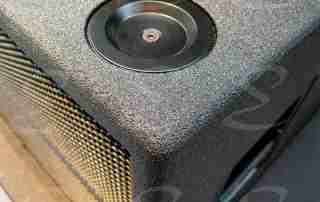rivestimento in poliurea casse acustiche legno